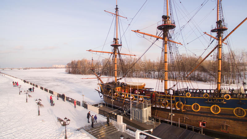 Luchtmening van het Vierkant van Admiraliteit en de Gods` s Voorbeschiktheid van Goto Predestinatsia eerste Russisch schip ingebo royalty-vrije stock afbeeldingen