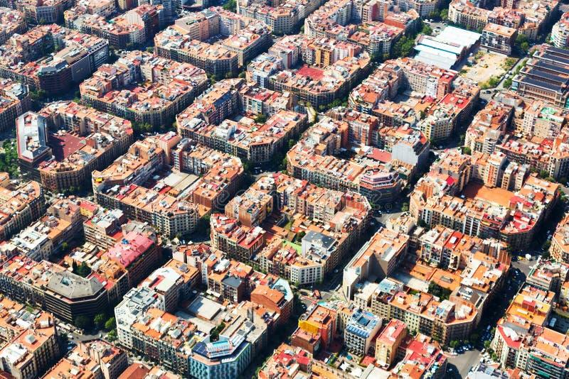 Luchtmening van het woondistrict van Eixample Barcelona royalty-vrije stock afbeeldingen