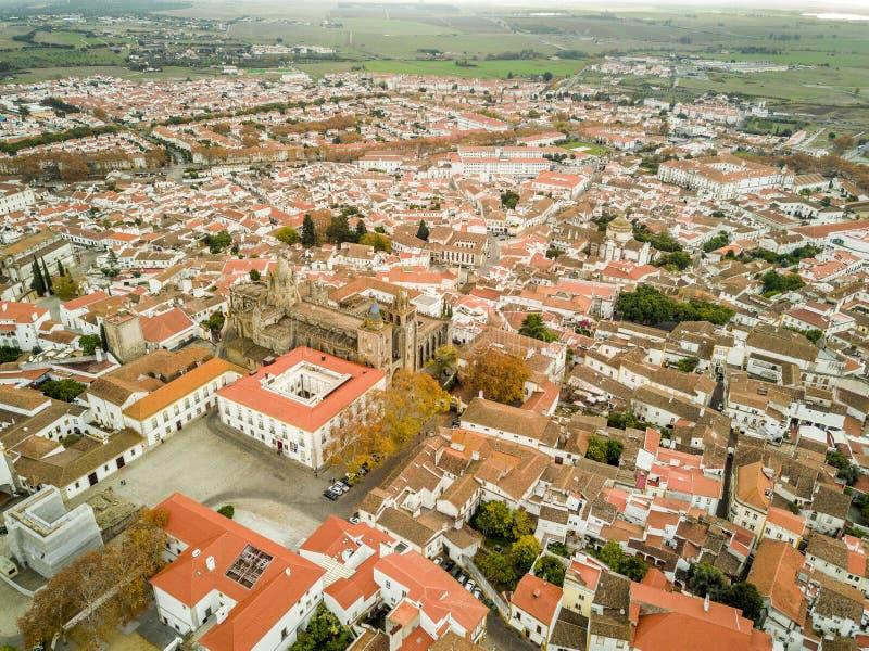 Luchtmening van historisch Evora in Alentejo, Portugal stock fotografie