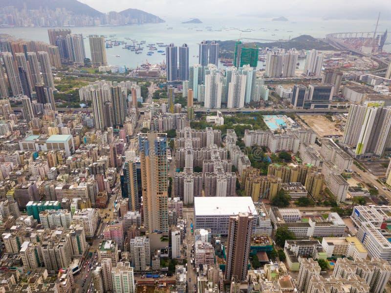 Luchtmening van Hong Kong-flats op cityscape achtergrond onderzoek royalty-vrije stock afbeeldingen