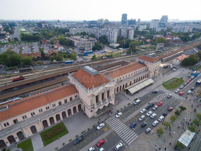 Luchtmening van hoofdstation in Zagreb royalty-vrije stock foto