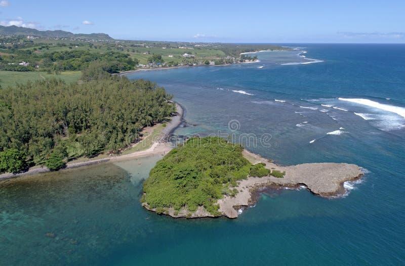 Luchtmening van Ilot Sanchot Mauritius stock afbeeldingen