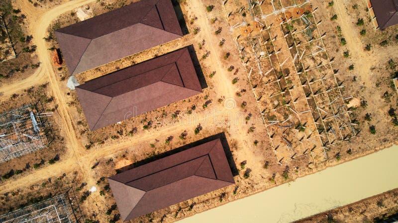 Luchtmening van industrilpark stock afbeelding