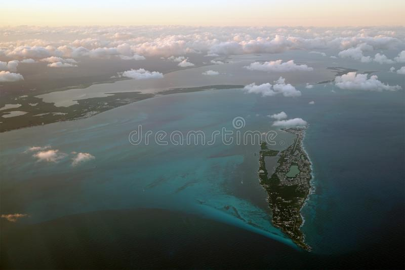 Luchtmening van Isla Mujeres, Cancun, Quintana Roo, Mexico stock foto's