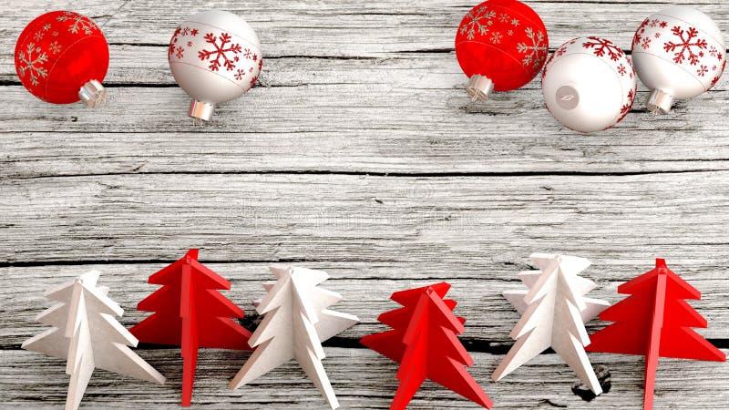 Luchtmening van Kerstmisornamenten op een houten lijst royalty-vrije illustratie