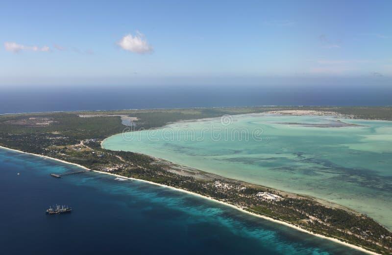 Luchtmening van Kiritimati-Eiland, Kiribati royalty-vrije stock foto's