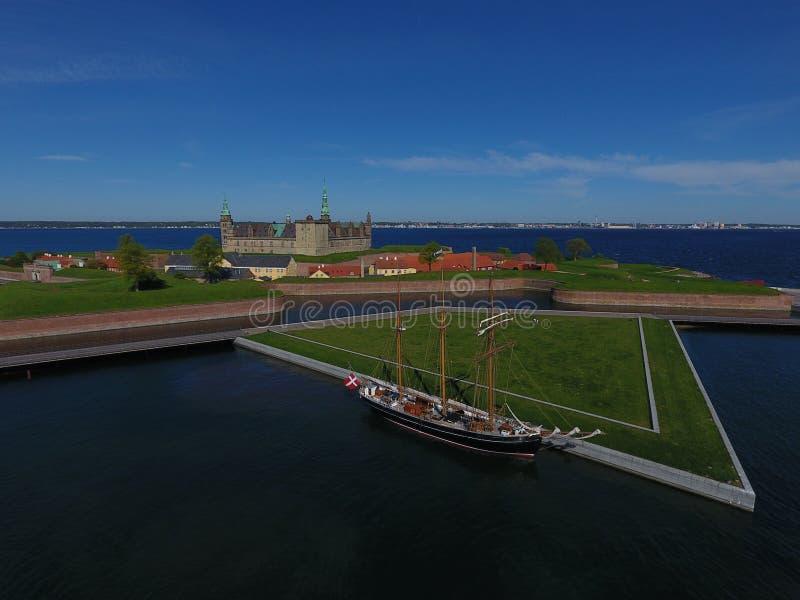 Luchtmening van Kronborg-Kasteel, Denemarken stock fotografie