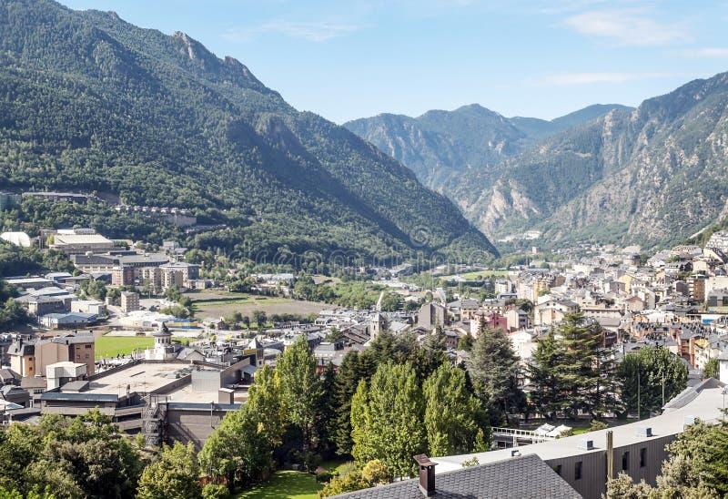 Luchtmening van La Bella van Andorra stock fotografie