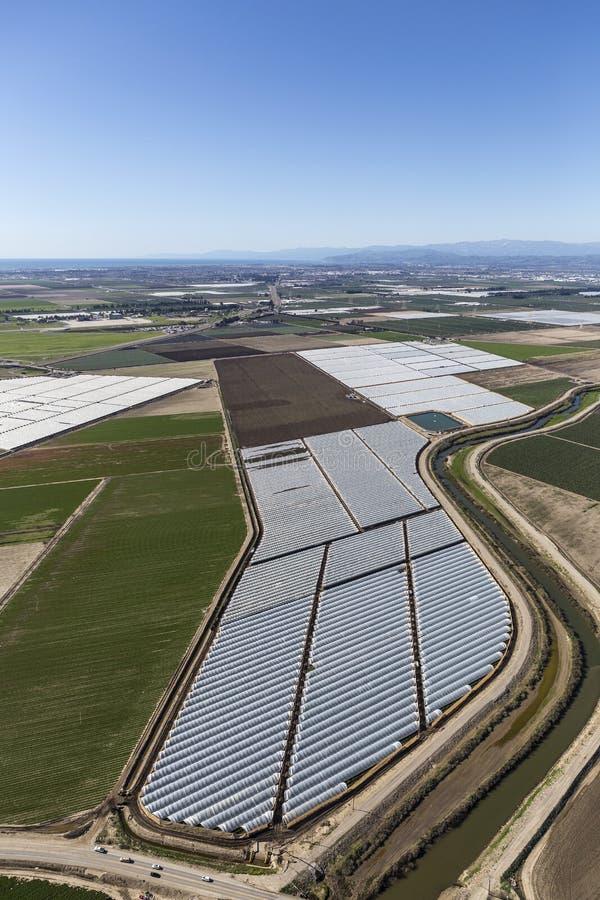 Luchtmening van Landbouwbedrijfgebieden dichtbij Oxnard en Camarillo Californië stock afbeelding