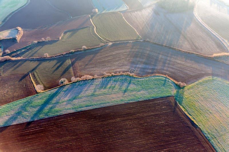 Luchtmening van landbouwgebieden stock foto