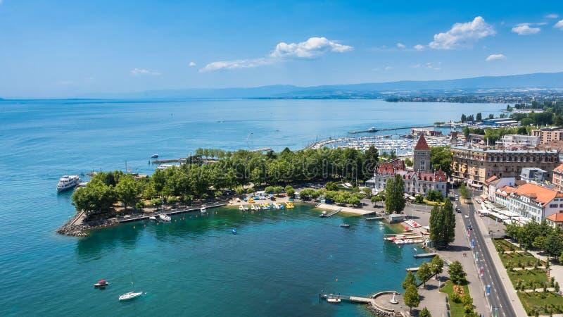 Luchtmening van Leman-meer - de stad van Lausanne in Zwitserland royalty-vrije stock fotografie