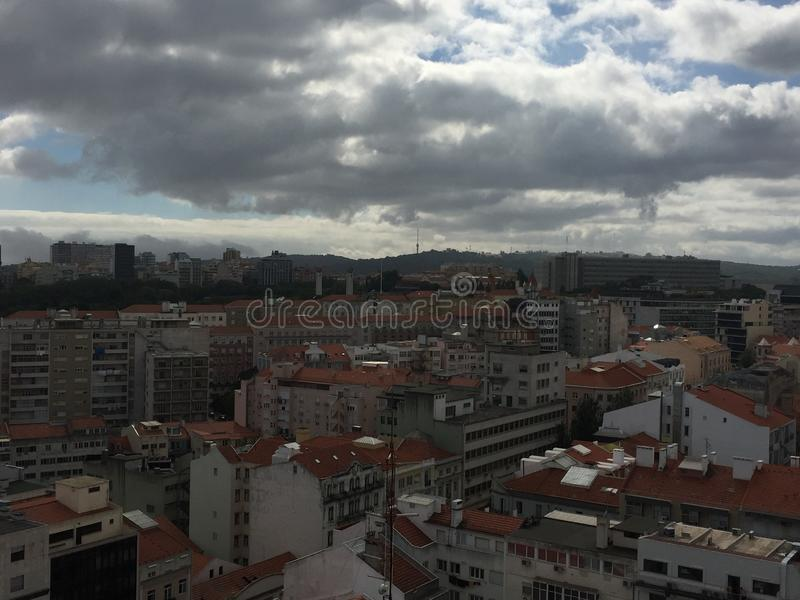 Luchtmening van Lissabon, Portugal stock foto