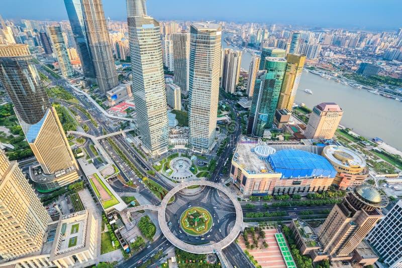 Luchtmening van lujiazui van Shanghai stock foto