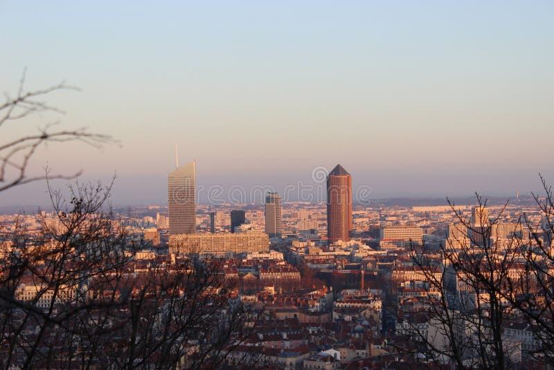 Luchtmening van Lyon (Frankrijk) royalty-vrije stock afbeeldingen