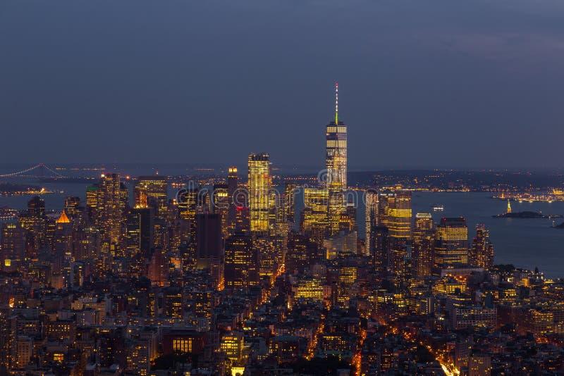 Luchtmening van Manhattan bij nacht, New York royalty-vrije stock afbeelding
