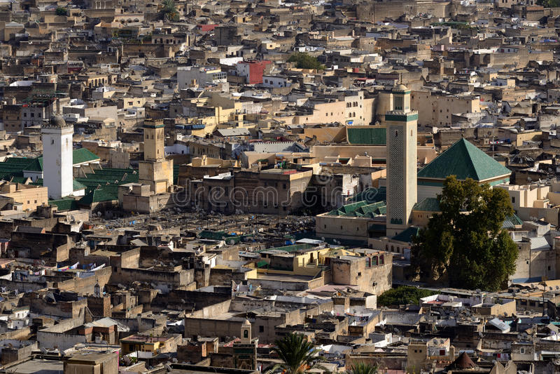 Luchtmening van medina in Fes, Marokko royalty-vrije stock fotografie