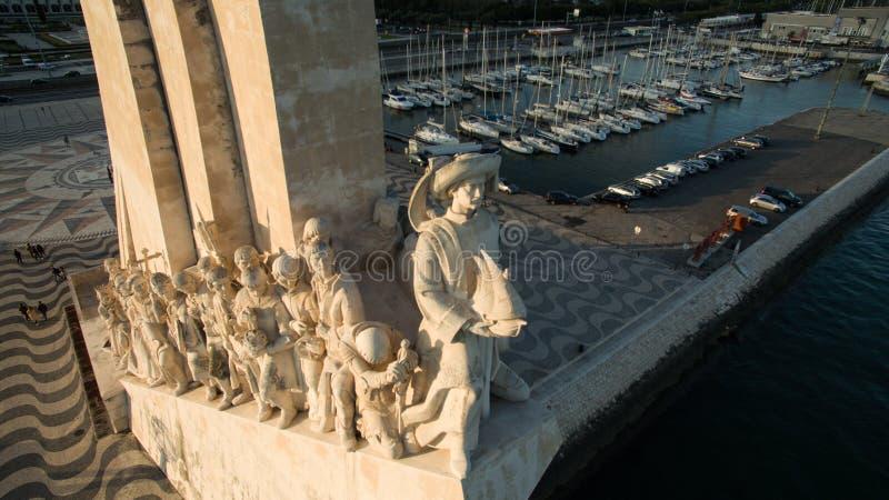 Luchtmening van Monument aan de Ontdekkingen, het district van Belem, het close-up van Lissabon, Portugal royalty-vrije stock fotografie
