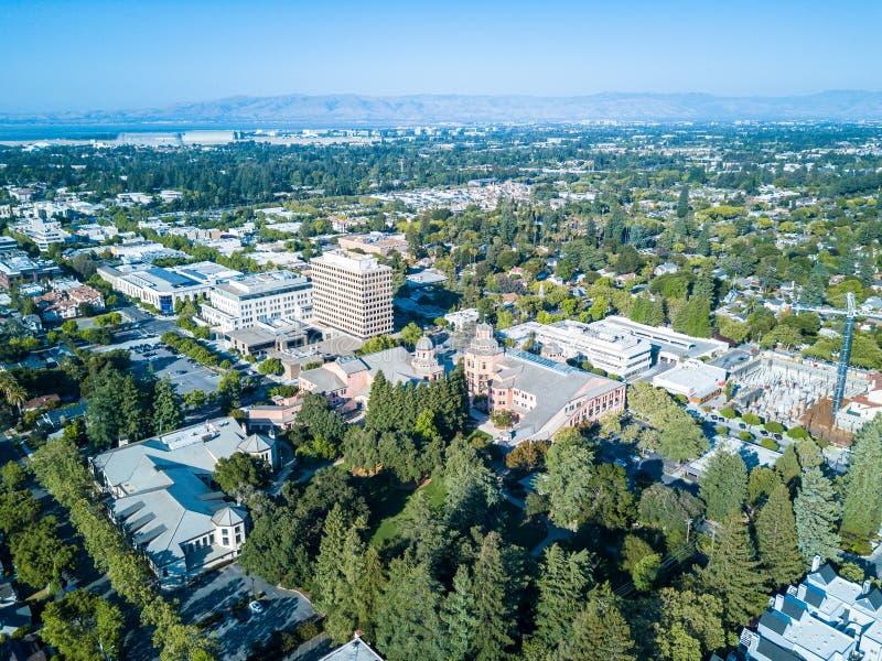 Luchtmening van Mountain View van de binnenstad in Californië royalty-vrije stock foto