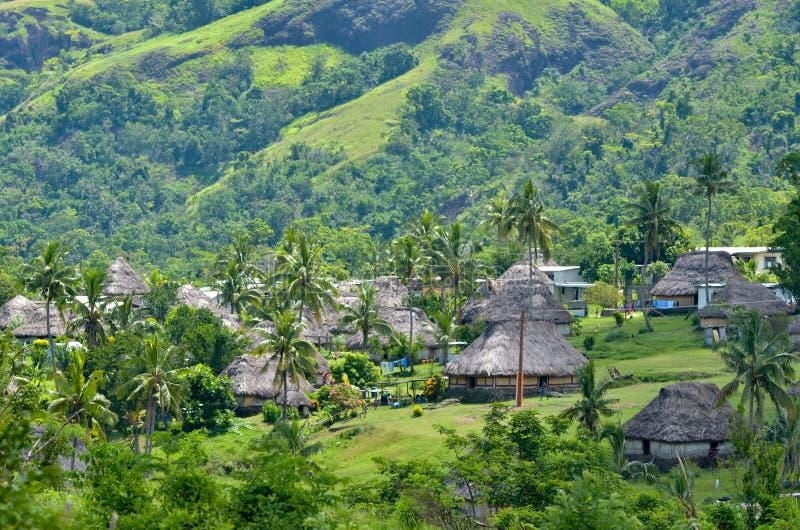Luchtmening van Navala-dorp Fiji royalty-vrije stock afbeeldingen