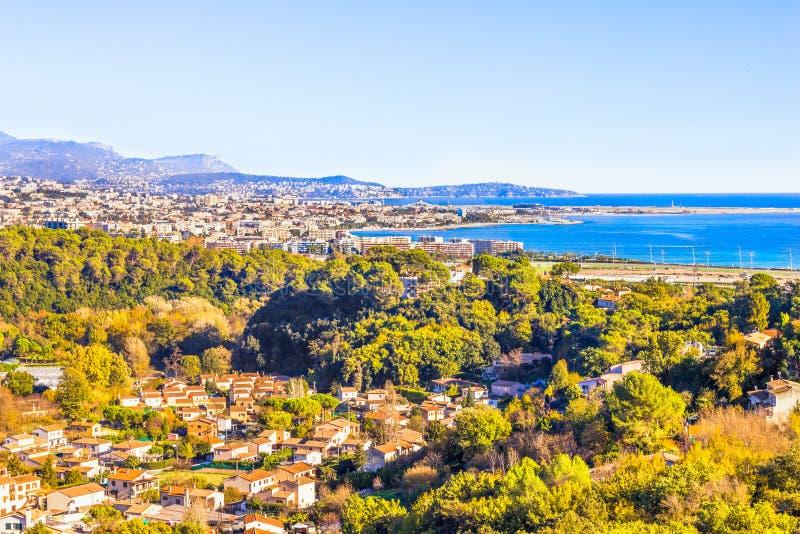 Luchtmening van Nice, Kooi d'Azur royalty-vrije stock afbeeldingen
