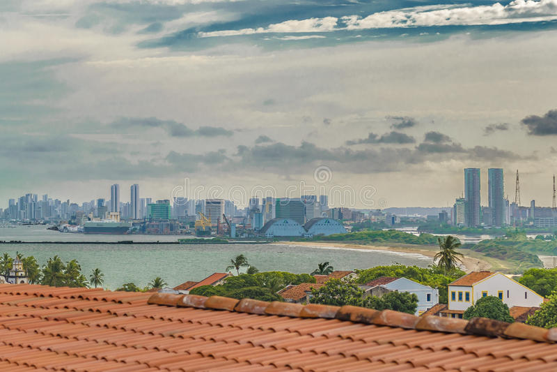Luchtmening van Olinda en Recife, Pernambuco Brazilië royalty-vrije stock afbeeldingen