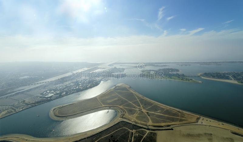 Luchtmening van Opdrachtbaai, San Diego stock foto's