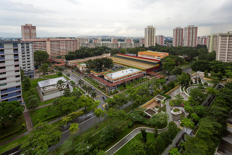Luchtmening van Openbare Woonwijk in Singapore stock afbeeldingen