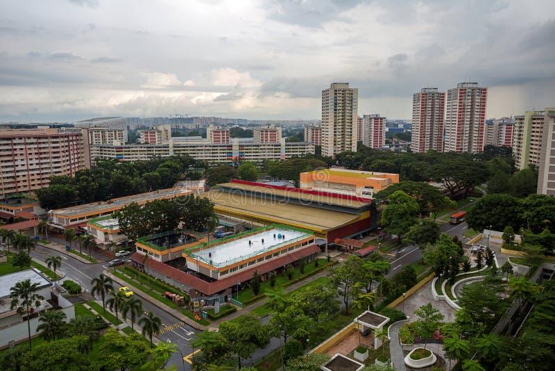 Luchtmening van Openbare Woonwijk in Singapore royalty-vrije stock afbeelding