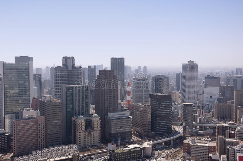 Luchtmening van Osaka Japan stock foto