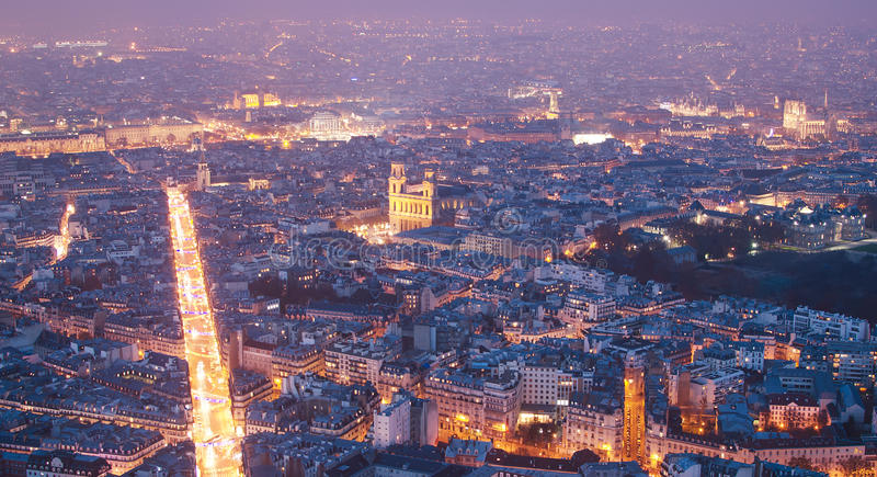 Luchtmening van Parijs (Frankrijk) royalty-vrije stock afbeeldingen