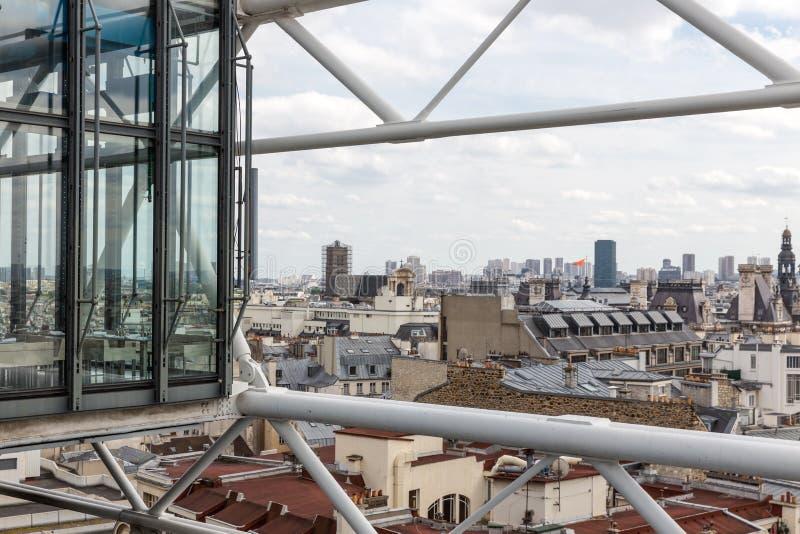 Luchtmening van Parijs van dakterras van Centre Pompidou royalty-vrije stock foto