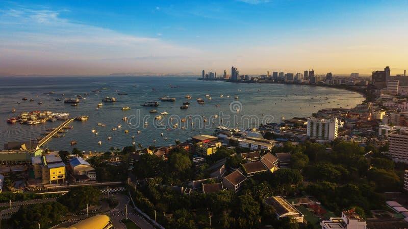 Luchtmening van Pattaya, Thailand stock foto's