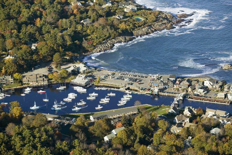 Luchtmening van Perkins Cove dichtbij Portland, Maine royalty-vrije stock afbeeldingen