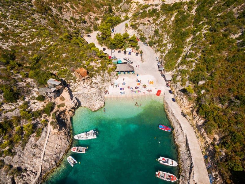 Luchtmening van Porto Vromi strand in het eiland van Zakynthos Zante, I stock foto
