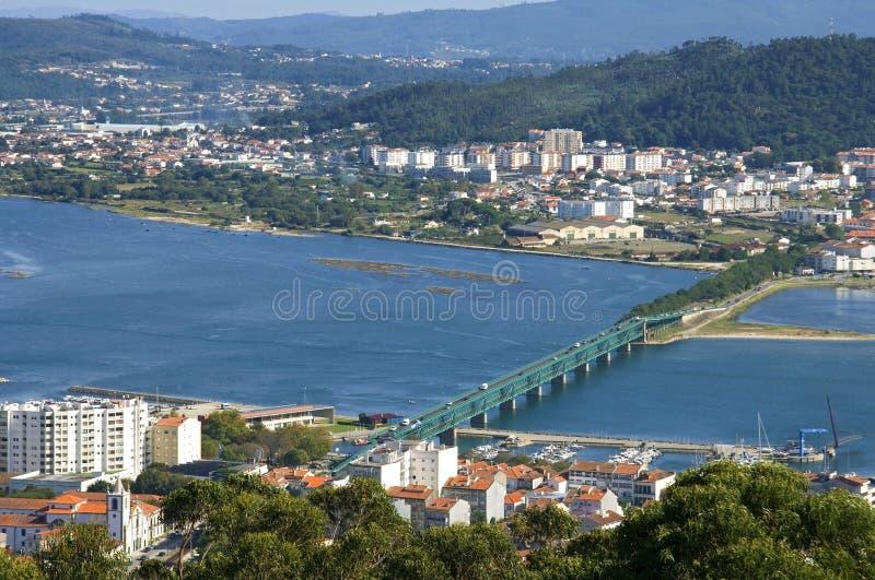 Luchtmening van Portugese stad Viana do Castelo stock foto
