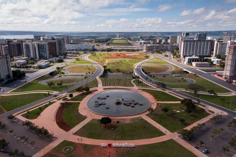 Luchtmening van ProefPlan van Brasilia Stad stock foto