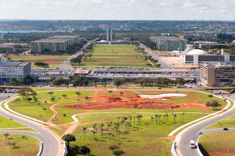 Luchtmening van ProefPlan van Brasilia Stad royalty-vrije stock afbeelding