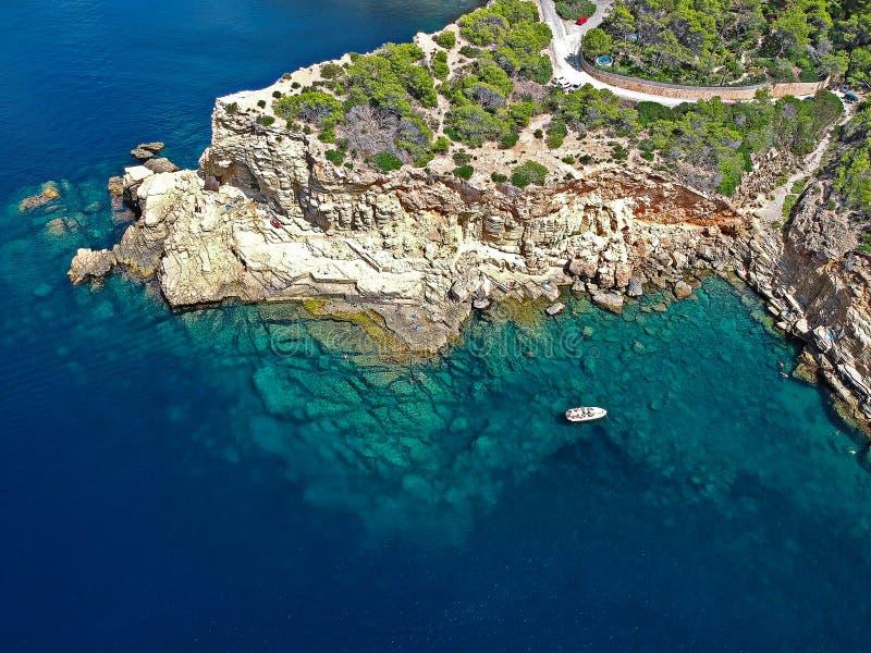 Luchtmening van Punta Galera, Ibiza stock afbeeldingen
