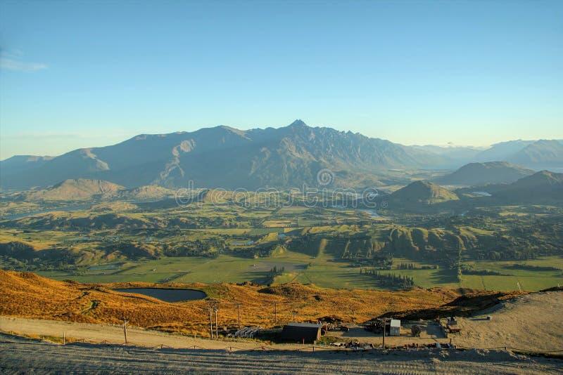 Luchtmening van Queenstown, Nieuw Zeeland royalty-vrije stock fotografie