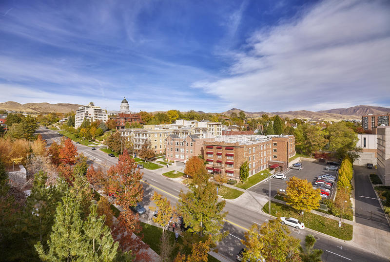 Luchtmening van Salt Lake City de stad in stock foto