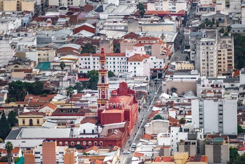 Luchtmening van Salta-Stad en San Francisco Church - Salta, Argentinië royalty-vrije stock afbeelding