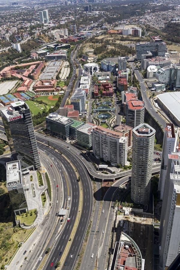 Luchtmening van santafe in Mexico-City royalty-vrije stock afbeelding