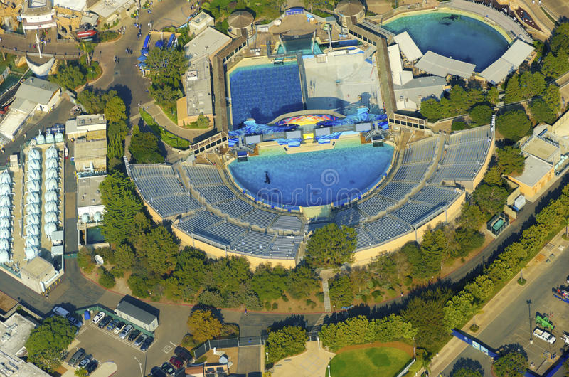 Luchtmening van Seaworld, San Diego stock afbeelding