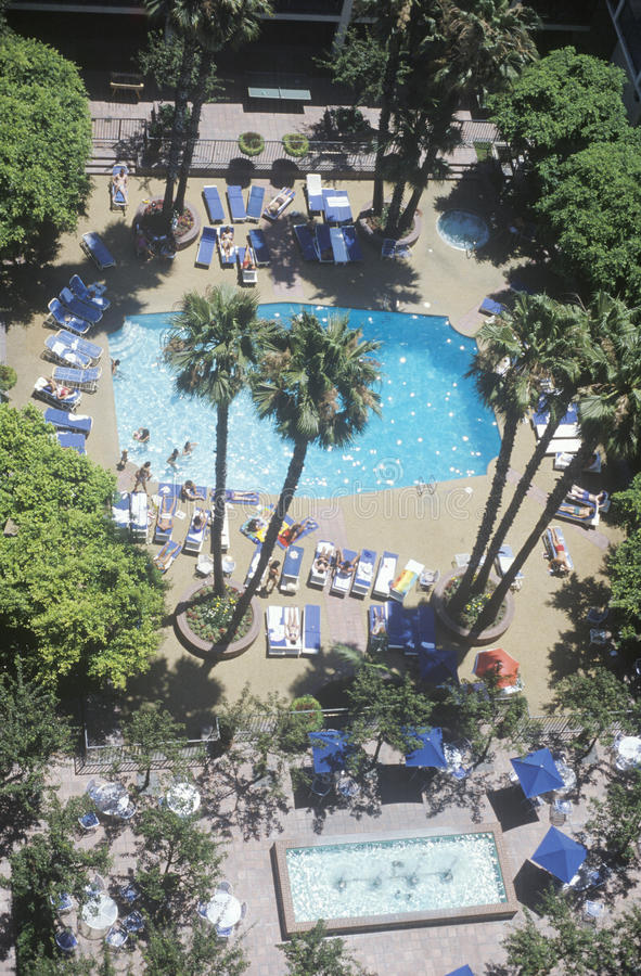 Luchtmening van Sheraton Hotel Pool, Universele Stad, CA royalty-vrije stock afbeeldingen