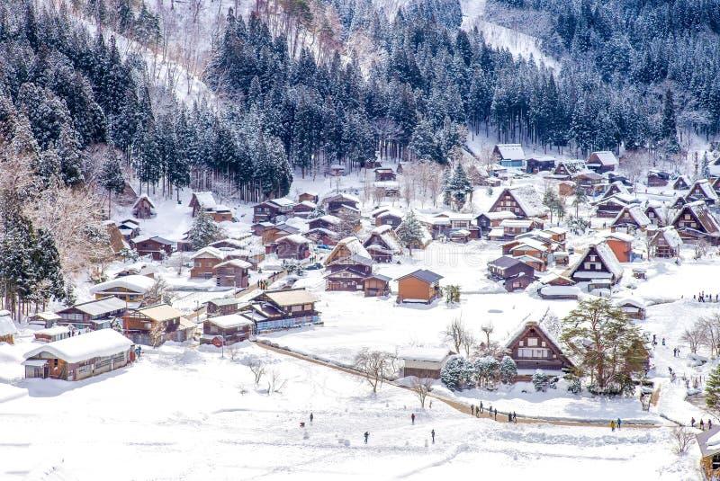 Luchtmening van Shirakawa-dorp Gifu Japan stock fotografie