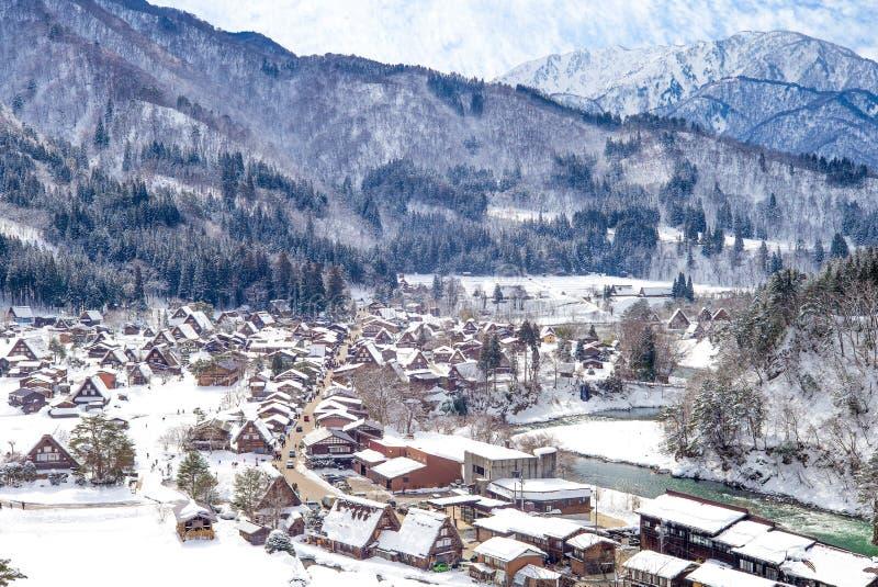 Luchtmening van Shirakawa-dorp Gifu Japan royalty-vrije stock afbeeldingen