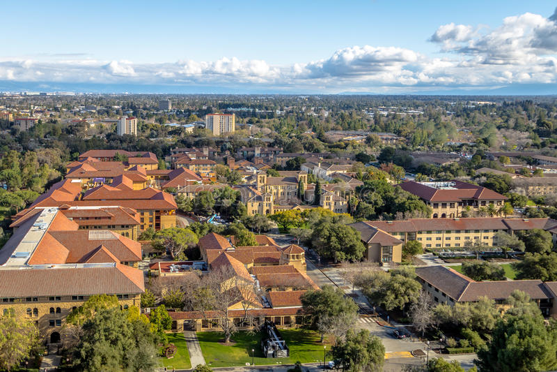 Luchtmening van Stanford University Campus - Palo Alto, Californië, de V.S. stock foto's