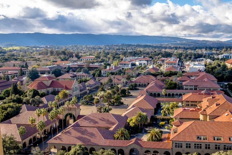 Luchtmening van Stanford University Campus - Palo Alto, Californië, de V.S. stock foto