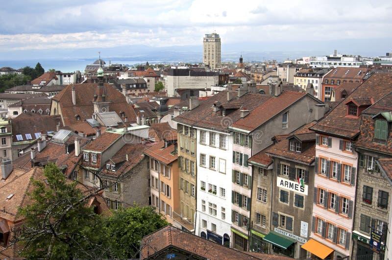 Luchtmening van stedelijk landschap van de stad Lausanne stock fotografie