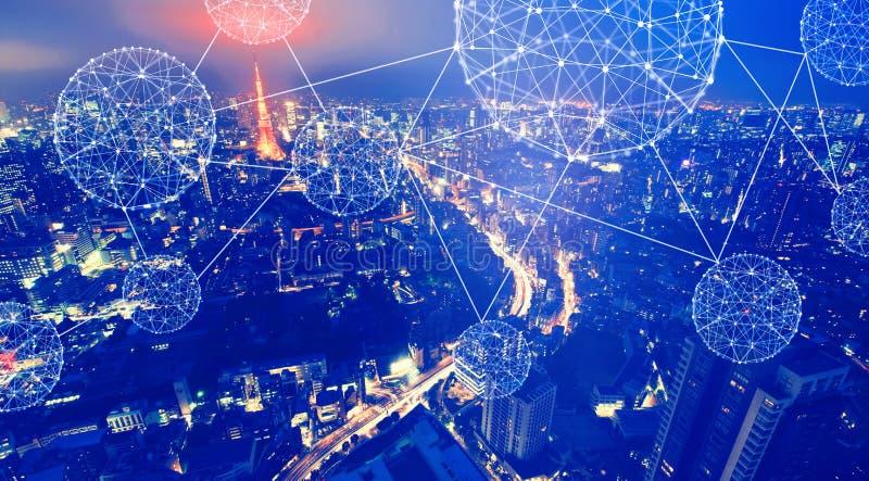Luchtmening van Tokyo Japan met technologie veelhoekige lijnen stock fotografie